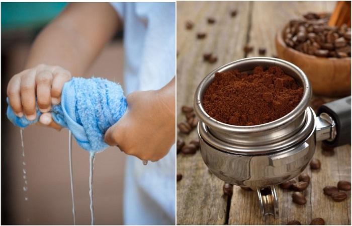 Мокрые полотенца впитают запах, а молотый кофе - нейтрализует его