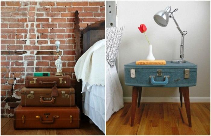 Если нужна высокая тумба, можно поставить несколько чемоданов. / Фото: dekormyhome.ru