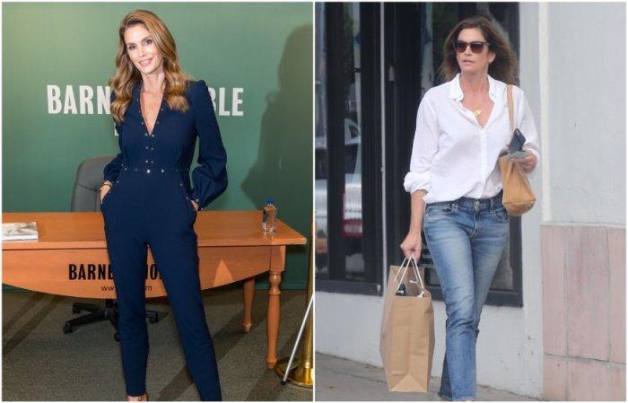 Синди Кроуфорд часто надевает джинсы в комплекте с рубашкой или однотонный костюм