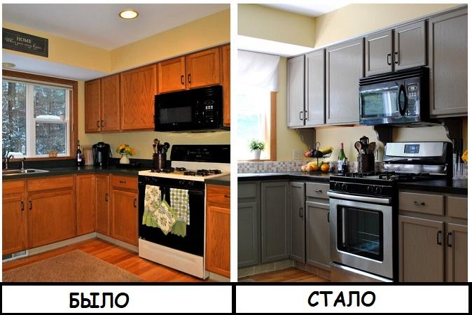 Кухонный гарнитур до и после покраски. / Фото: vestnikao.ru