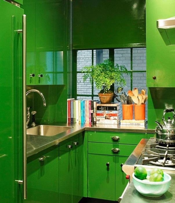 Зеленая кухня выглядит крохотной. / Фото: Happymodern.ru