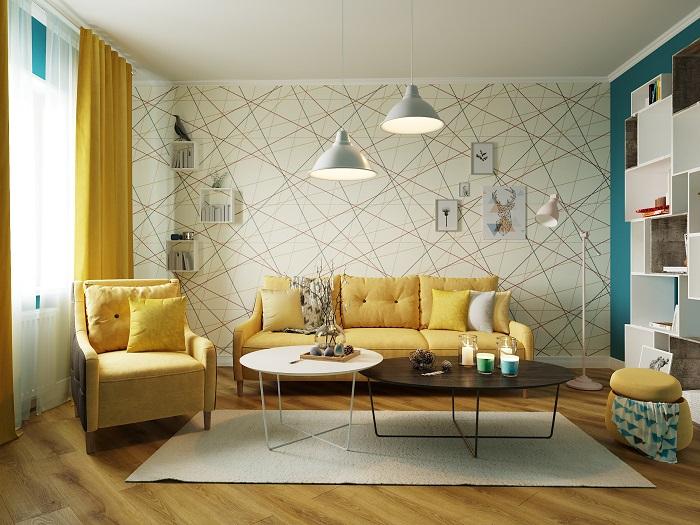 Акцентная стена в интерьере гостиной. / Фото: Dizainexpert.ru