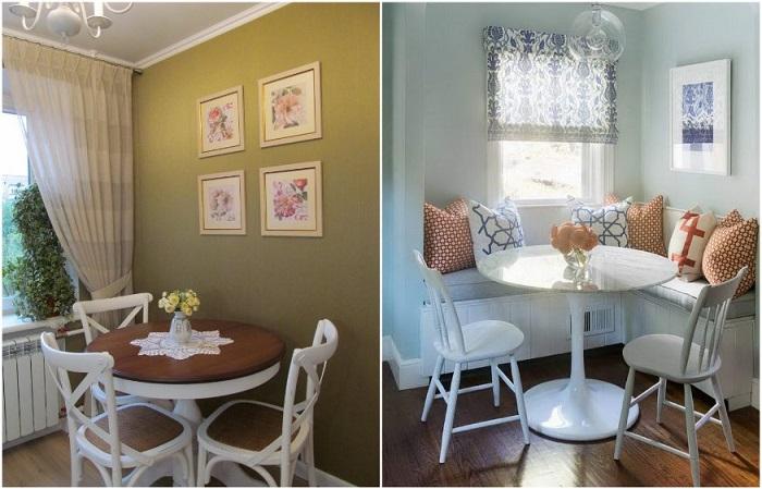 Круглый стол, стоящий у окна, - идеальный вариант для кухни
