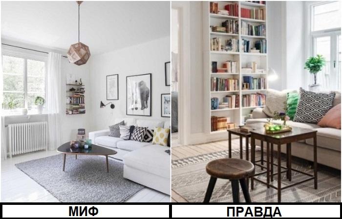 В скандинавских интерьерах много систем хранения