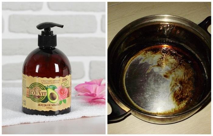 Жидкое мыло может спасти сгоревшую кастрюлю