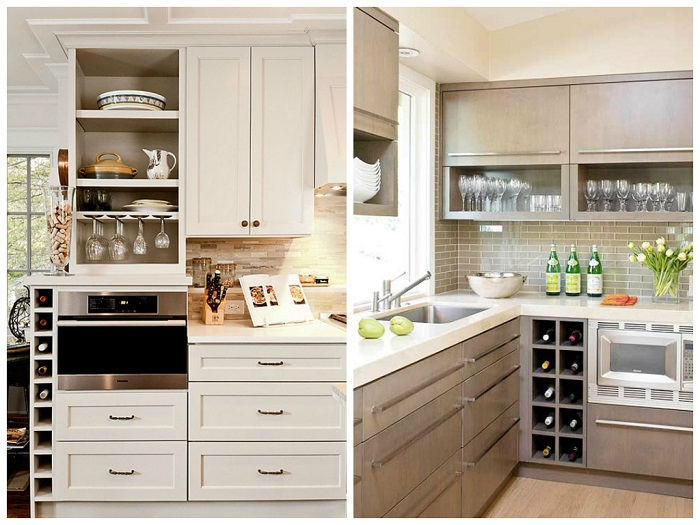 Открытые шкафчики делают пространство просторнее. / Фото: kitchensinteriors.ru