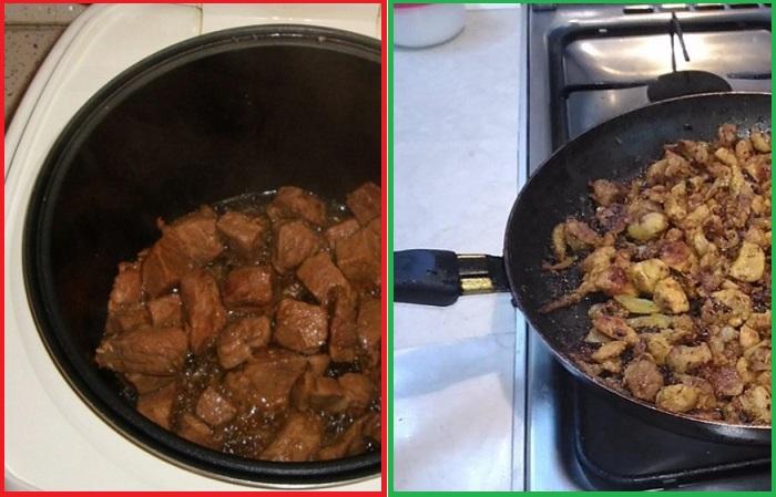 Мясо на сковороде получается вкуснее и ароматнее