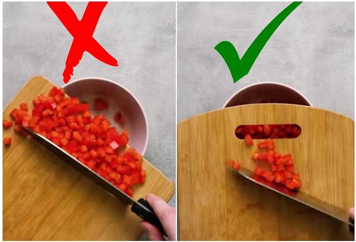 В отверстие доски нужно ссыпать порезанные овощи. / Фото: Life.ru