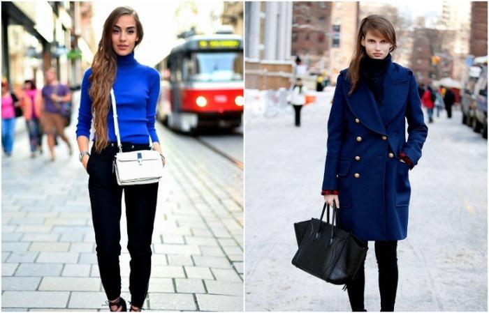 Сочетание синего и черного в одежде выглядит благородно и роскошно