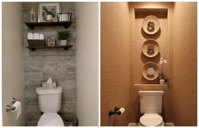 На стене над унитазом можно повесить полки либо декоративные тарелки