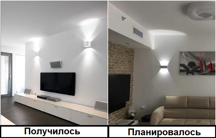 Лампы должны были быть над диваном, а оказались над телевизором