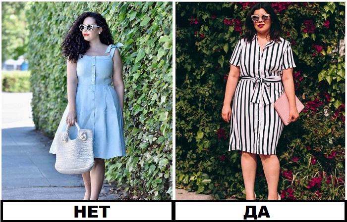 Полным девушкам можно носить одежду с тонкими вертикальными полосками