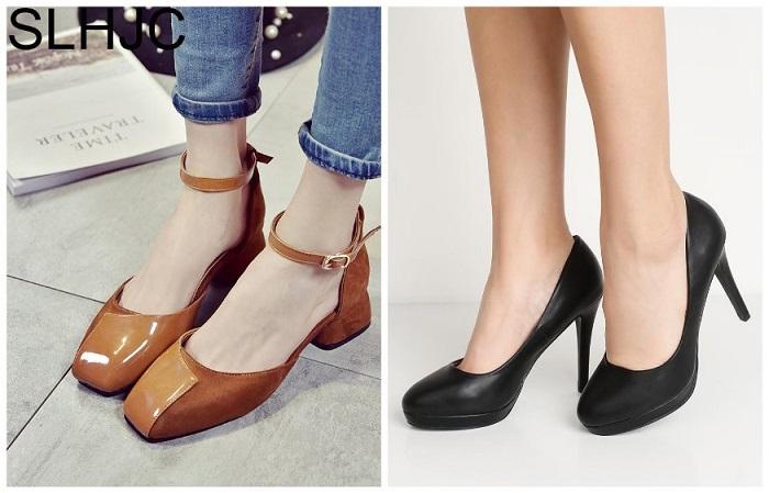 Туфли с круглым и квадратным носом
