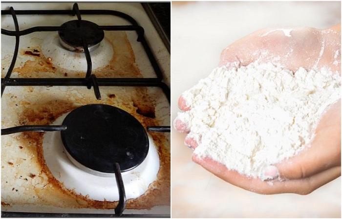 Муку можно использовать для чистки плиты