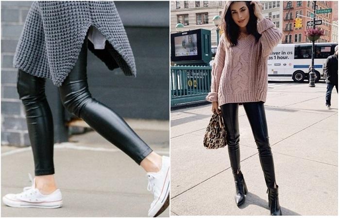 Латексные лосины можно носить со спортивной обувью и объемным верхом