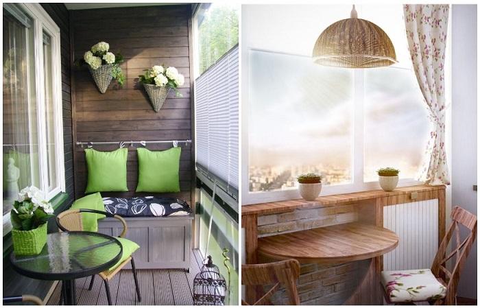 Яркие подушки и шторы с цветочным орнаментом дополнят интерьер