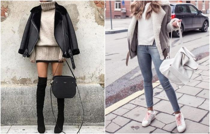 С дубленкой прекрасно смотрятся, как повседневные кроссовки, так и элегантные ботфорты