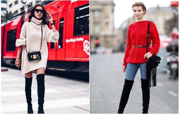 Ботфорты сочетаются с платьем-свитером в стиле оверсайз, а также скинни в комплекте с объемным верхом