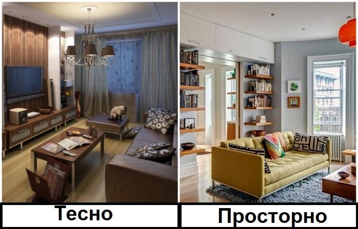 Не загромождайте комнату большим количеством мебели