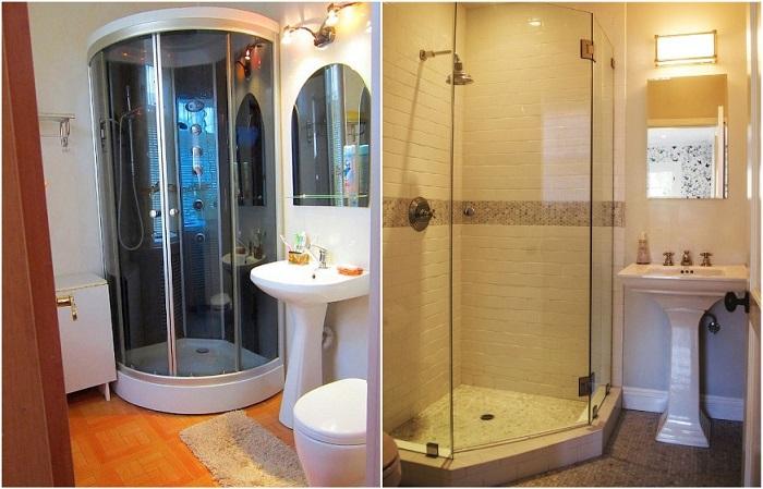 В ванной можно поставить душевую кабинку или душевой уголок