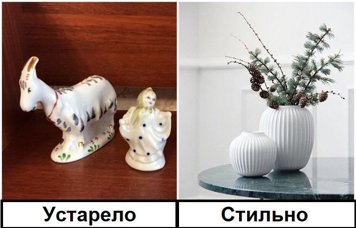 Вместо советских фигурок поставьте стильную вазу