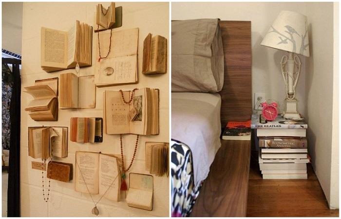 Из книг можно сделать настенный декор или прикроватную тумбу