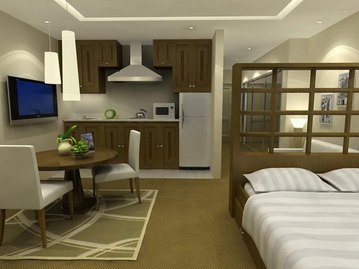 Интерьер кухни со спальным местом. / Фото: Design-homes.ru