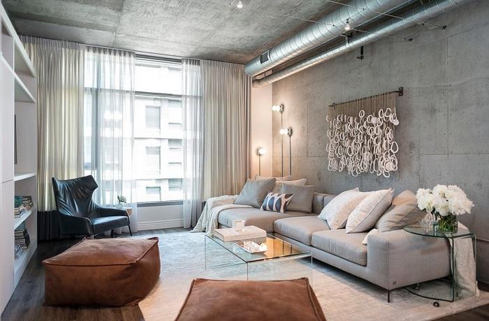 Бетонная стена в гостиной. / Фото: Design-homes.ru