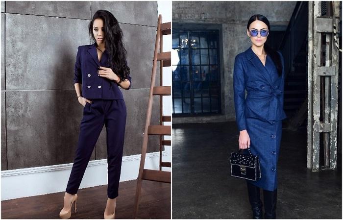 Деловые костюмы темно-синего цвета. / Фото: Pinterest.ru