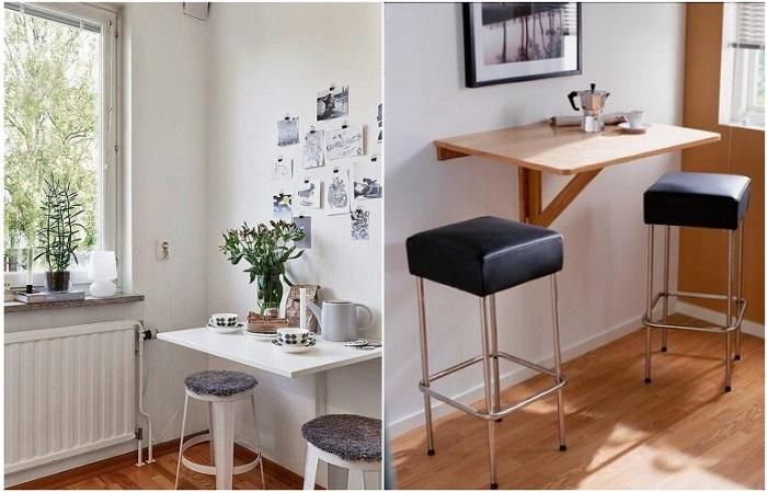 Подвесной стол и пару барных стульев - идеальное решение для маленькой кухни