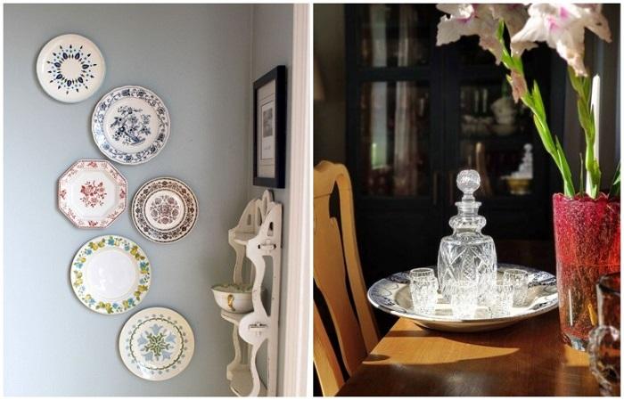 Из посуды можно сделать настенный декор или использовать по назначению