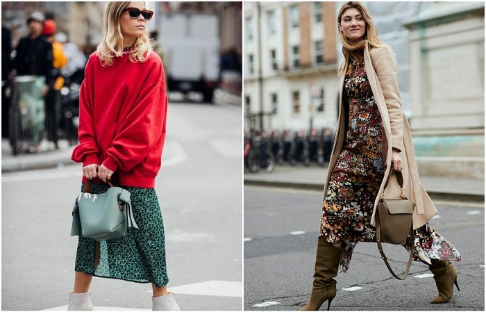 Зимой можно носить летние платья в комплекте со свитером или теплым пальто