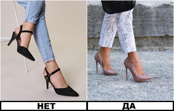 Туфли с ремешком на щиколотке визуально укорачивают ноги