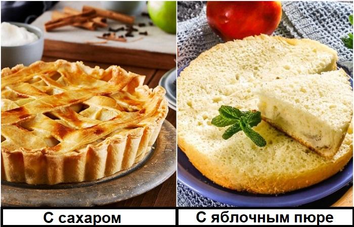 Положите вместо сахара яблочное пюре в тесто