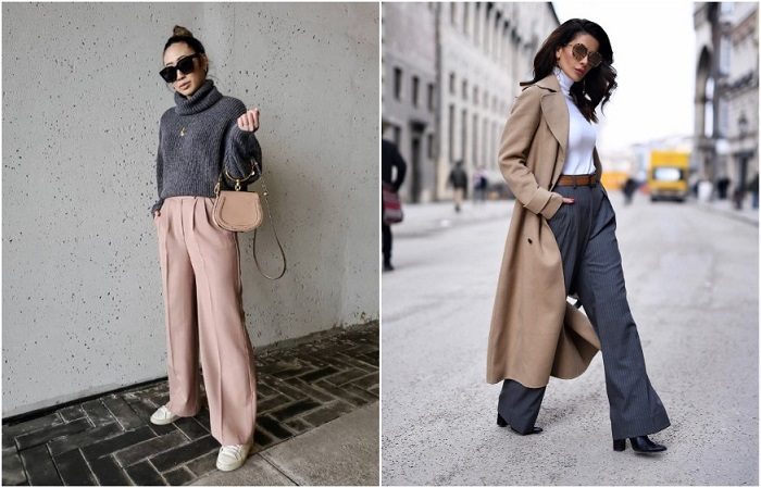 Широкие брюки прекрасно смотрятся как со свитером, так и с классическим пальто