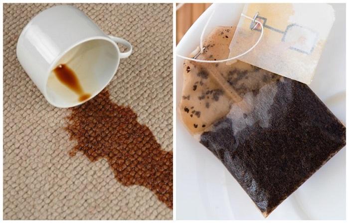 Чай поможет избавиться от пятна на ковре