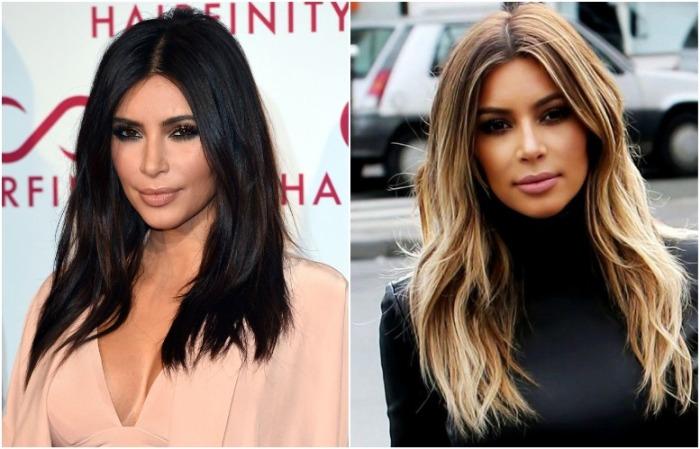 Ким Кардашьян с натуральным цветом волос и шатушем