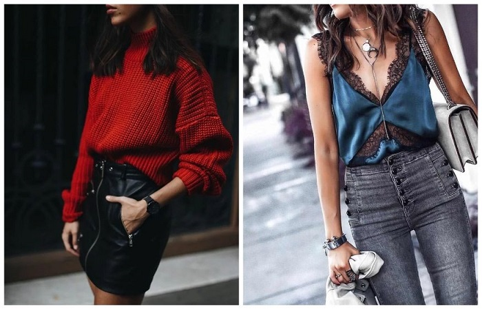 Джинсы с шелковой блузой и кожаная юбка с вязаным свитером