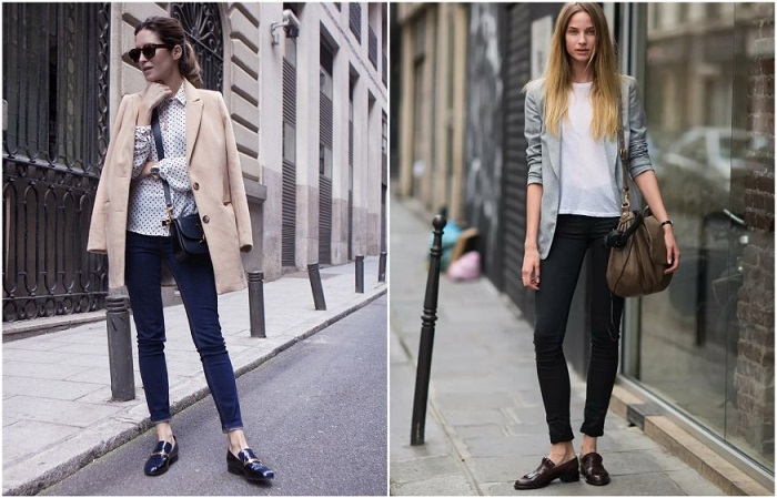 Беспроигрышный образ - лоферы + укороченные джинсы или брюки
