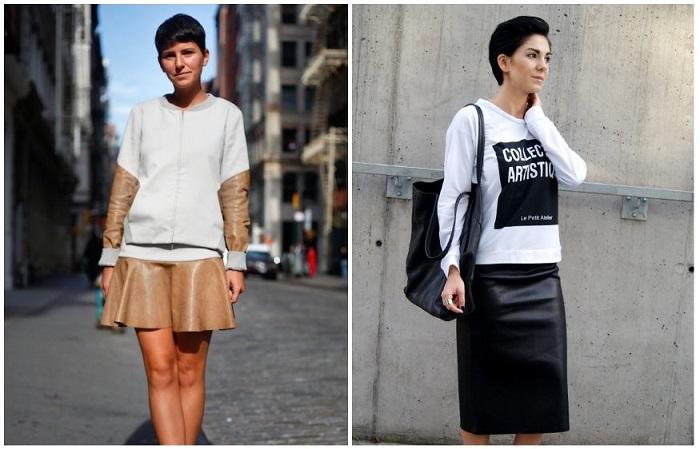 Создать спортивный образ поможет юбка, свитшот или куртка на молнии