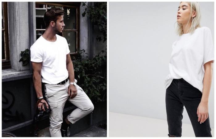 Белая футболка должна сидеть свободно, не обтягивать