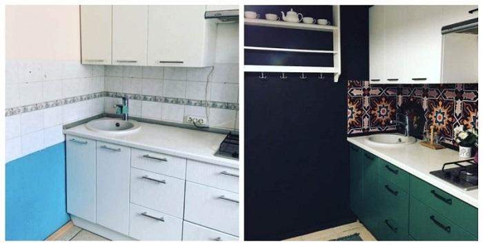 Кухня до и после покраски гарнитура, стен и смены фартука. / Фото: kakpostroit.su