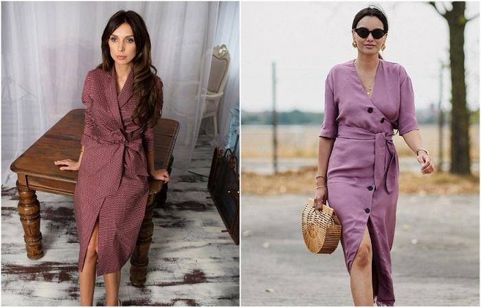 Платье-халат должно быть однотонным