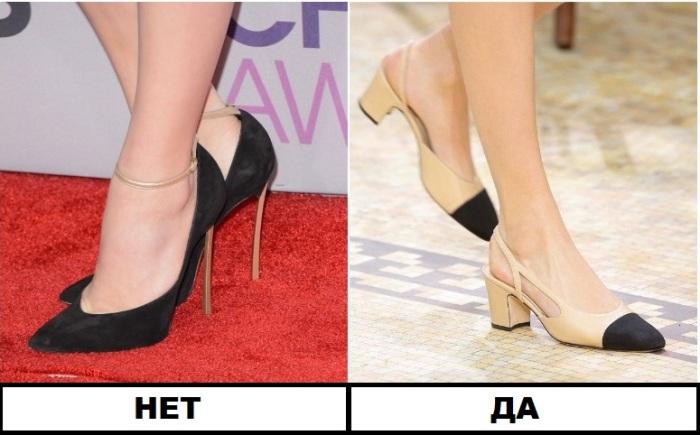 Вместо остроносых туфель - обувь с контрастным мыском