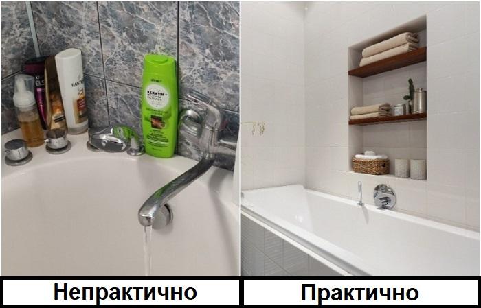 Хорошо, если в ванной есть ниша с полками для банных принадлежностей
