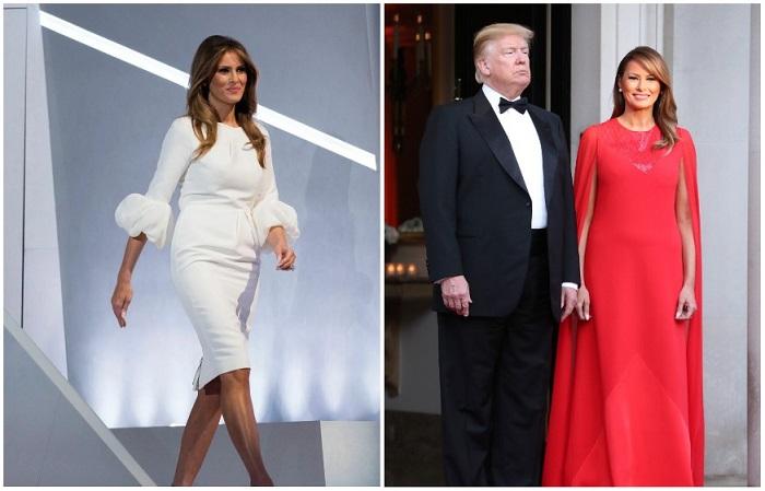 Слева - белое платье от Роксанды Илинчич, справа - алое платье-кейп от Givenchy