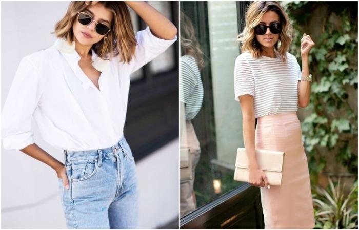 Джинсы, футболка и юбка-карандаш - основа базового гардероба
