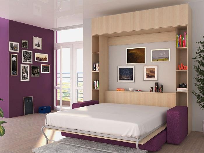 Кровать, встроенная в шкаф, - отличное решение для однушки. / Фото: obustroeno.com