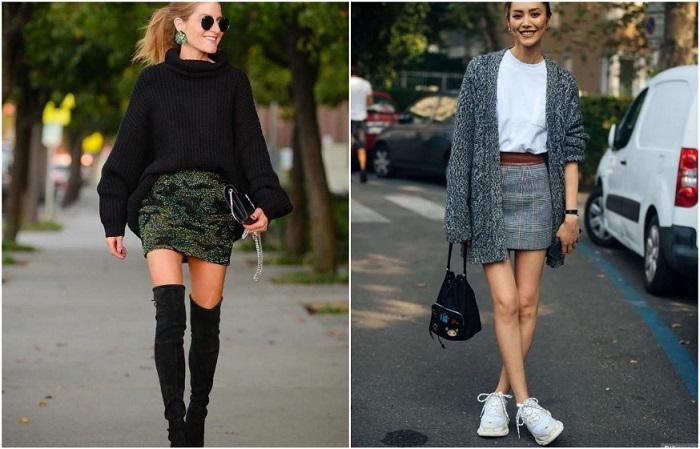 Короткая юбка хорошо смотрится с кроссовками и свитером оверсайз