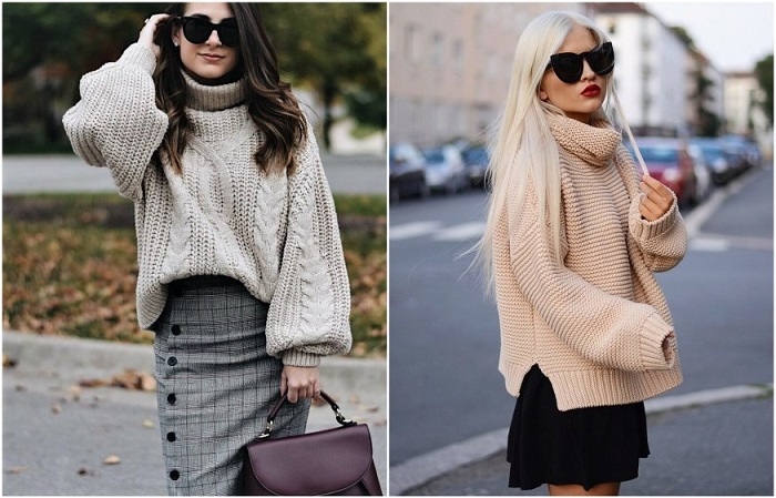Объемный свитер делает фигуру более женственной